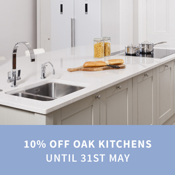 Order Oak Kitchens before 23:59 on Wednesday 31st May to save 10% on all complete kitchen units.