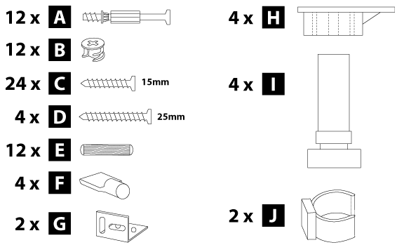 150mm base cabinet hardware