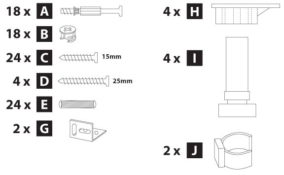 2145mm full height cabinet hardware