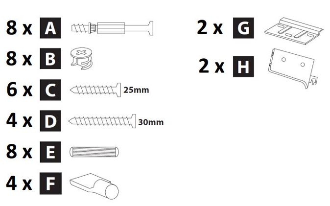 500mm - 600mm Wall Cabinet (Bridge Unit) Installation Guide - Hardware