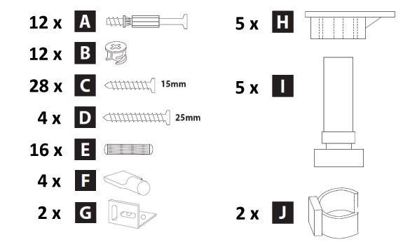 800mm - 1200mm Wide Belfast Sink Cabinet Assembly Instructions - Hardware
