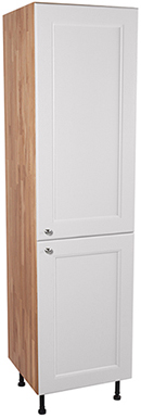 Solid Oak Full Height Cabinet 2 X Split Doors with Traditional All White Frontal