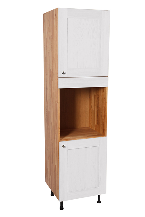 Solid Oak Full Height Single Oven Cabinet 2 X Doors With Shaker All White Frontal