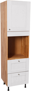 Solid Oak Full Height Single Oven Cabinet 3 X Doors with Shaker All White Frontal
