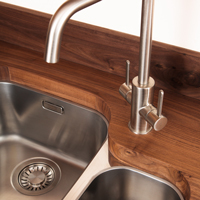 American walnut worktop with undermounted sink