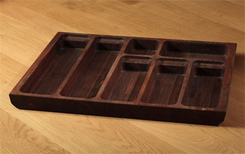 Solid american walnut cutlery trays.