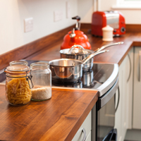 American walnut worktops in a solid wood kitchen
