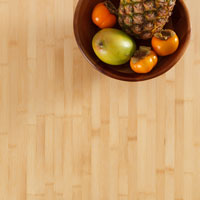 Our sustainable bamboo worktop with a colourful bowl of fruit