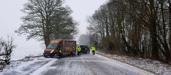 Delivery van stuck in grassy verge during adverse snowy weather.