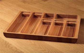 Solid beech cutlery drawer trays.