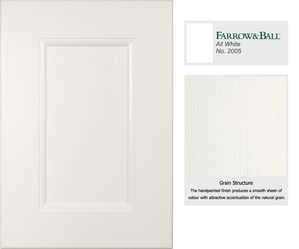The cabinet door has been painted in Farrow & Ball's All White - a mellow contemporary neutral.