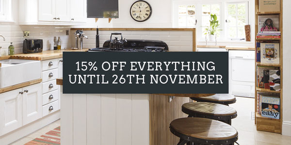 15% off everything on site at Solid Wood Kitchen Cabinets until 26th November.
