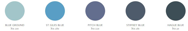 Farrow & Ball offer a wide range of blues, from the light Blue Ground to the deep Hague Blue.