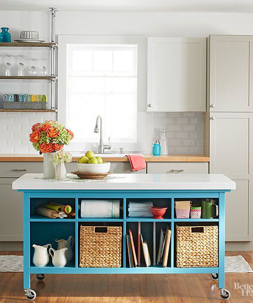 Islands for small kitchens can have plenty of storage space if used correctly