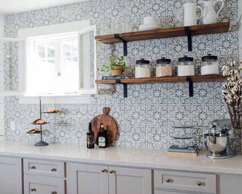 A tile effect wallpaper can be very dramatic in a kitchen setting.