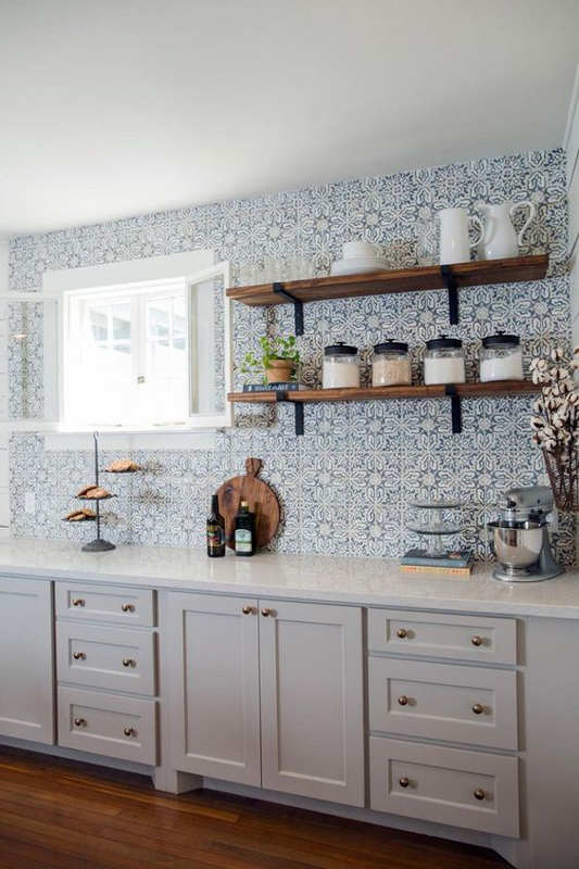 How To Wallpaper A Kitchen Solid Wood Kitchen Cabinets