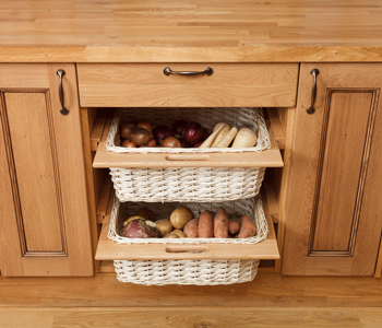 These wicker baskets are a great alternative to drawers or shelves.