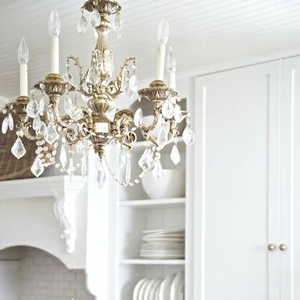 This chandelier is perfect complements a traditional style kitchen.
