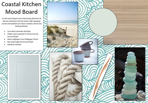 This Coastal Kitchen Mood Board offers some calm and tranquil inspiration for a fresh and relaxing Kitchen design.