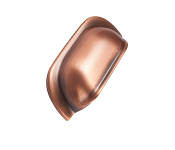 This cup handle is made from bronze and is ideal for adding warm metallic accents to your kitchen.