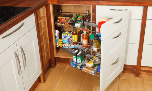 Kitchen corner units that have been fitted with wirework use the most of your cabinet space.