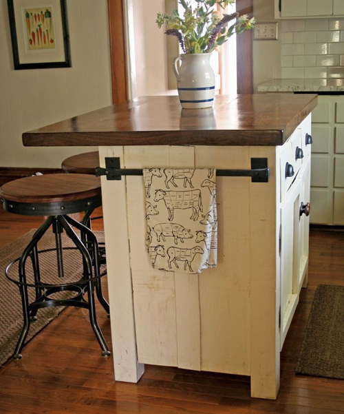 It is best to use stools with a small kitchen island, to save precious floor space