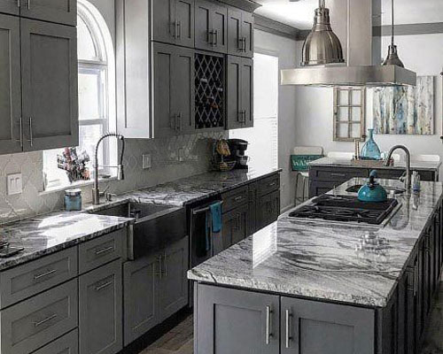 Marble worktops worktop perfectly well in darker coloured kitchens.