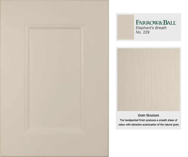 Farrow & Ball's Elephant's Breath is the darkest of our most popular cabinet door colours.