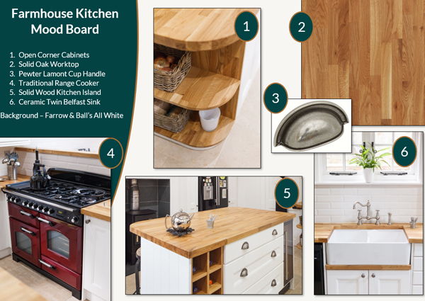 This farmhouse kitchen mood board has been inspired by a Solid Wood Kitchen Cabinet Customer.