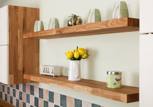 Floating shelves create storage space for your beautiful kitchen items