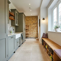 This example of a single wall utility room has plenty of storage space.