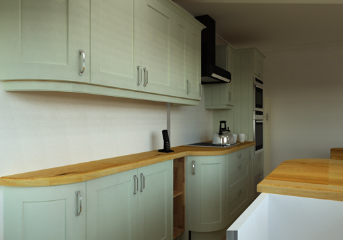 By utilising curved worktops and slimline base cabinets the flow of a kitchen can be optimised.