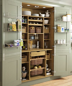 This large larder is built into the main kitchen to create a seamless storage feature.