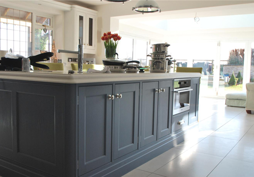 This kitchen island has been painted in Farrow & Ball's Cook's Blue.