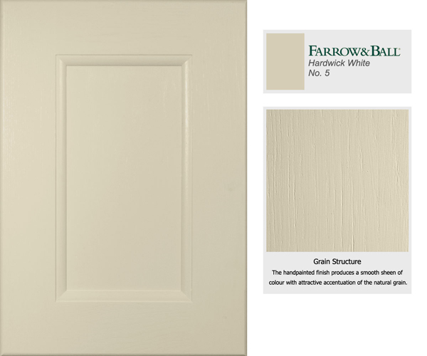 This cabinet door has been painted in Hardwick White, a traditional grey that combines well with deep shades.