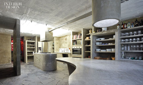 Concrete kitchens, like the one designed by Pedro Reyes, have been inspired by the Brutalist movement.