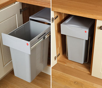Easy-cargo waste bins are ideal for oak kitchens and are a great method for keeping unsightly freestanding kitchen waste bins out of the way.