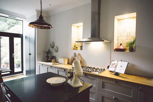 This kitchen was designed by Tamsin Leech-Griffiths and features Shaker doors.