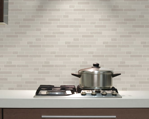 This Holden oblong granite tile pattern wallpaper is ideal for a contemporary kitchen