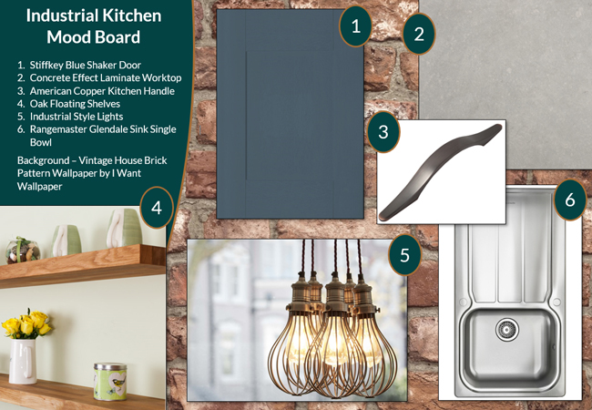 This industrial kitchen mood board offers plenty of inspiration for your own kitchen.