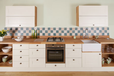 Open kitchen cabinets are a great way toad your personality to oak kitchens.