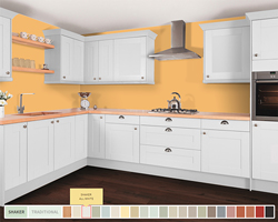 A shot of our kitchen visualiser, with white cabinets, a beech worktop and 'Babouche' painted walls