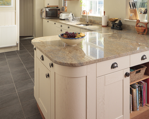 A kitchen peninsula, like this one, offers plenty of storage and worktop space.