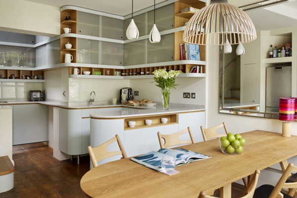 Small open plan kitchen with curves
