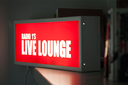 A Radio 1 Live Lounge sign in Jo Whiley's house