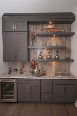 This kitchenette has everything you could need for a fully functional kitchen, including a power supply for appliances.