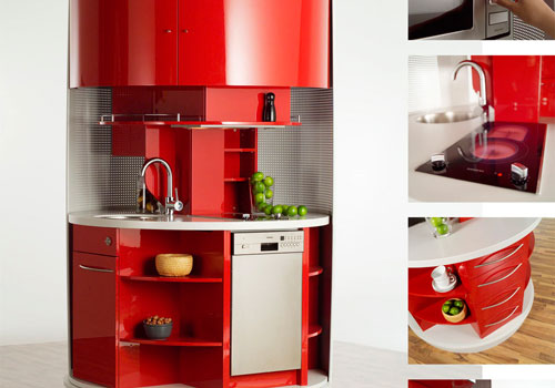 The rotating Clever Kitchen maximises functionality whilst reducing space.
