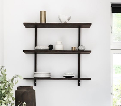 The look of this set of minimalistic Nordic monochrome kitchen shelves can be achieved using our black oak floating shelves