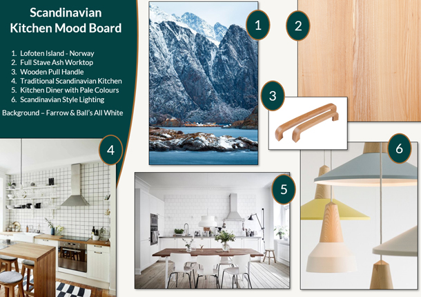 This Scandinavian kitchen mood board offers some great Nordic design inspiration.