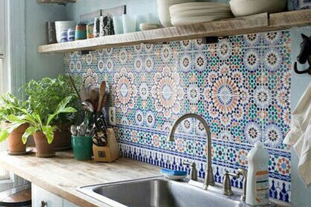These beautiful tiles help to create a Moroccan style kitchen.